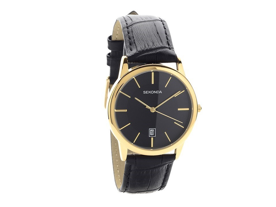 Sekonda 1370 Gold Plated Black Leather Strap Watch - W31124 | F ...