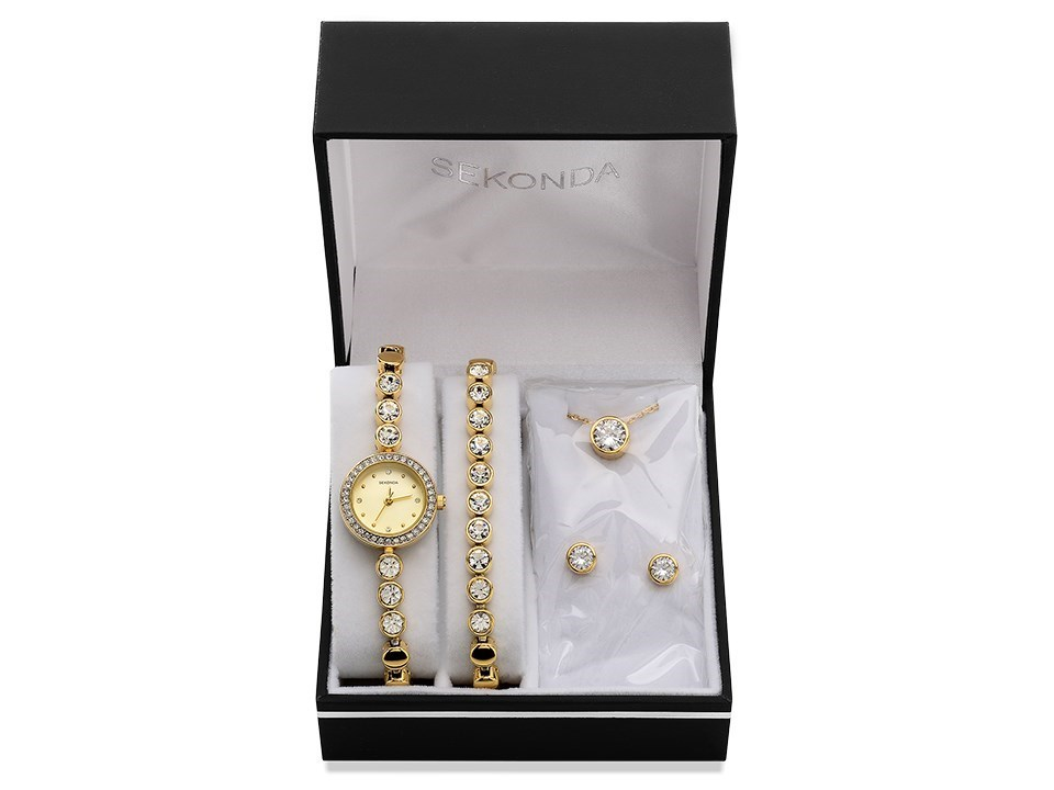 Sekonda 2401G 68 Gold Plated Bracelet Necklace Earring And Watch