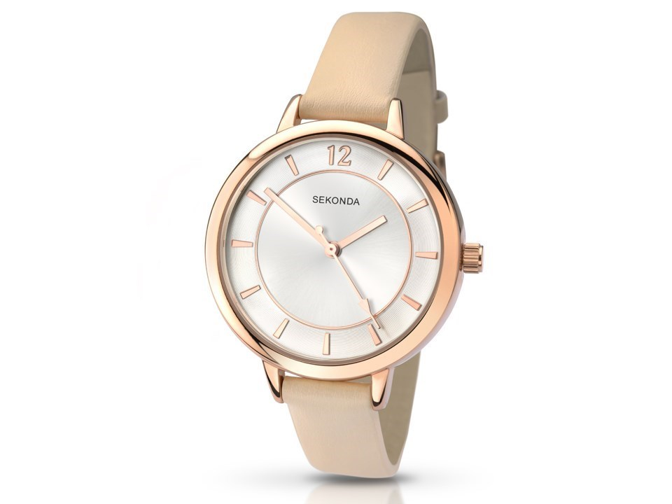 Sekonda Editions 2137 Summer Time Rose Gold Plated Cream Leather ...