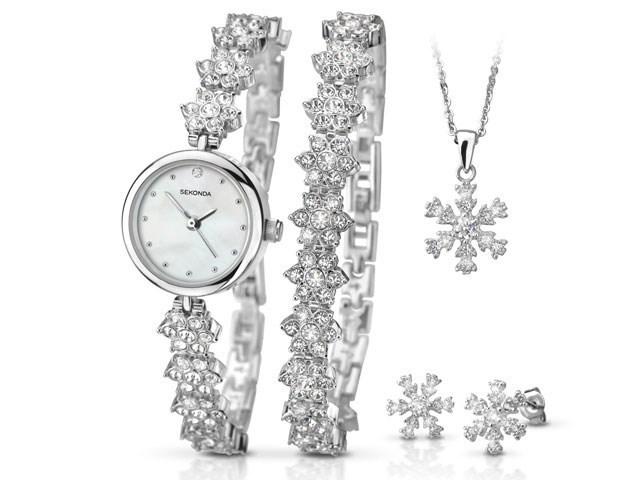 Sekonda 2087G Snowflake Watch Bracelet Pendant And Earrings Gift