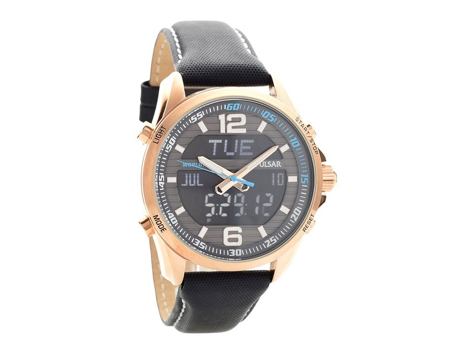 5f4f0a64e Pulsar PZ4006X1 Accelerator Chronograph Black Leather Strap Watch ...
