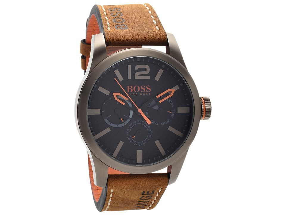 Default Image Hugo Boss Orange 1513240 Paris Chronograph Brown Leather  Strap Watch ...