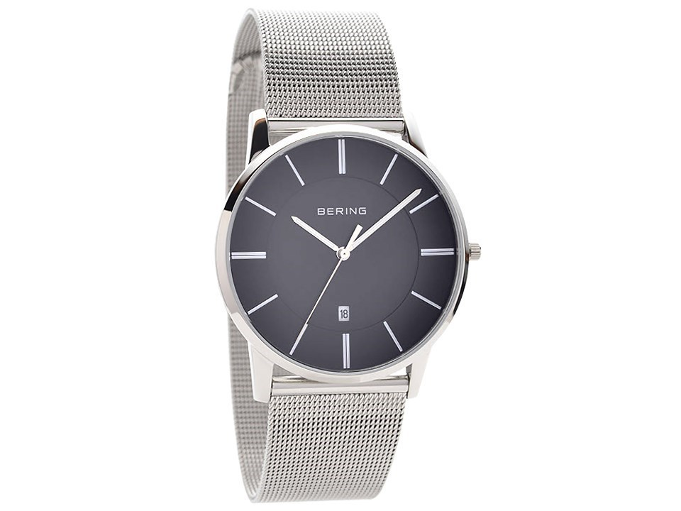 Bering 13139-002 Stainless Steel Black Dial Mesh Strap Watch - W7428