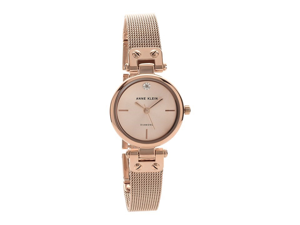 Anne klein ak n3002rgrg rose gold plated diamond set mesh bracelet watch w80108 f hinds for Anne klein rose gold watch set