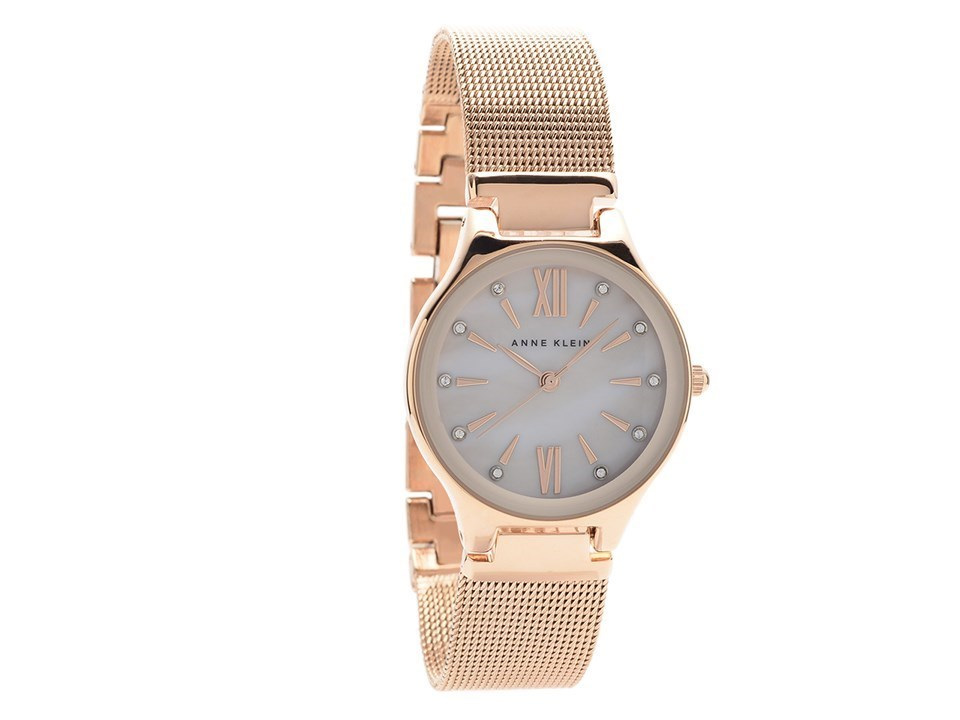 Anne klein ak n2418bmrg rose gold plated mesh bracelet watch w8063 f hinds jewellers for Anne klein gold watch