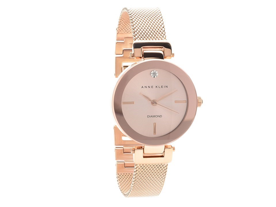 Anne klein ak n2472rgrg rose gold plated mesh bracelet watch w8067 f hinds jewellers for Anne klein rose gold watch set