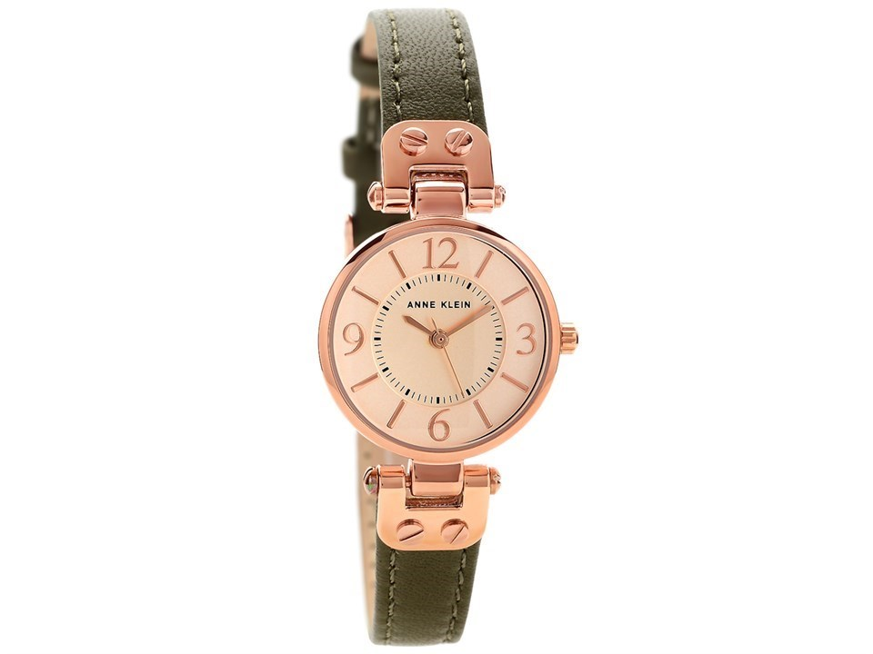 Anne klein 10 n9442rgol rose gold plated olive green leather strap watch w8091 f hinds jewellers for Anne klein gold watch