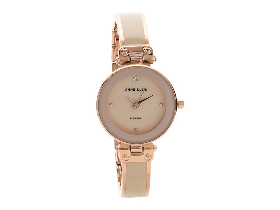Anne klein ak n1980bmrg rose gold plated diamond bangle bracelet watch w8092 f hinds jewellers for Anne klein rose gold watch set