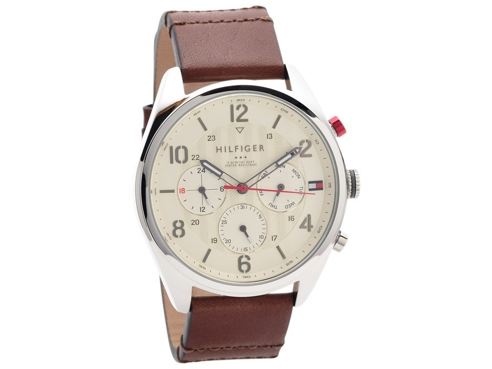 86df0a27 Tommy Hilfiger 1791208 Corbin Stainless Steel Brown Leather Strap ...