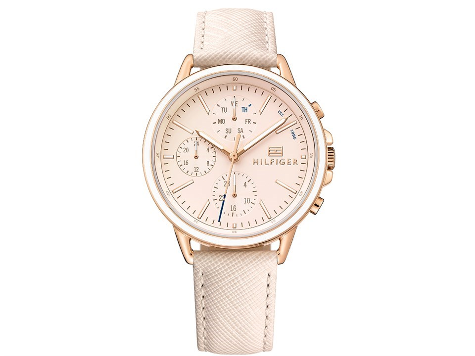 tommy hilfiger 1781789 carly rose gold plated cream leather strap watch w9586 f hinds jewellers. Black Bedroom Furniture Sets. Home Design Ideas