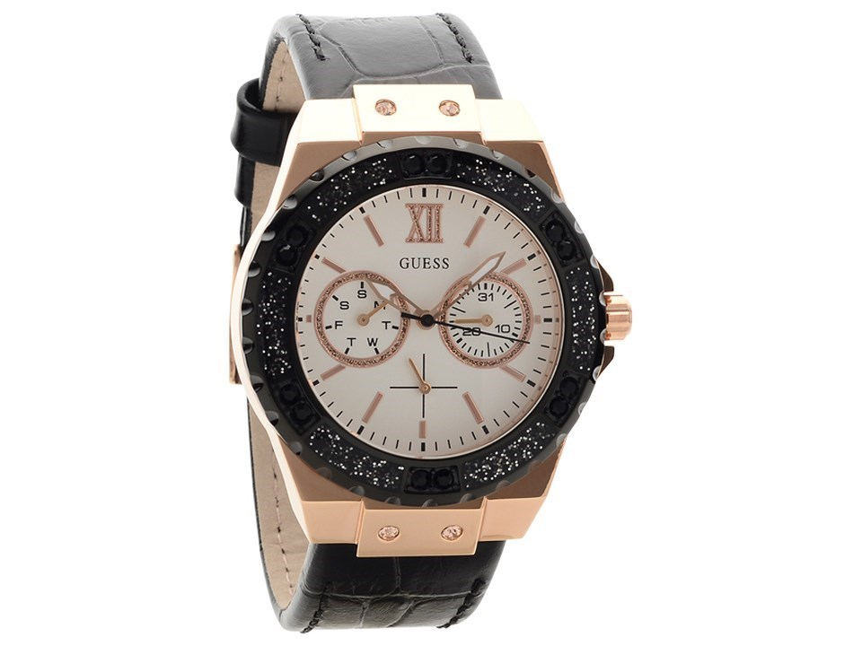 guess w0775l9 limelight gold plated black leather