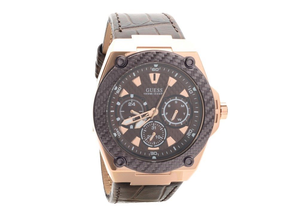 Guess W1058G2 Legacy Rose Gold Plated Brown Leather Strap ... - photo #15