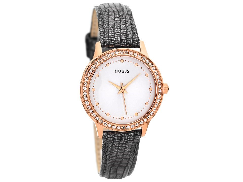 Guess W0648l2 Chelsea Rose Gold Plated Stone Set Black Leather Strap Watch W9622