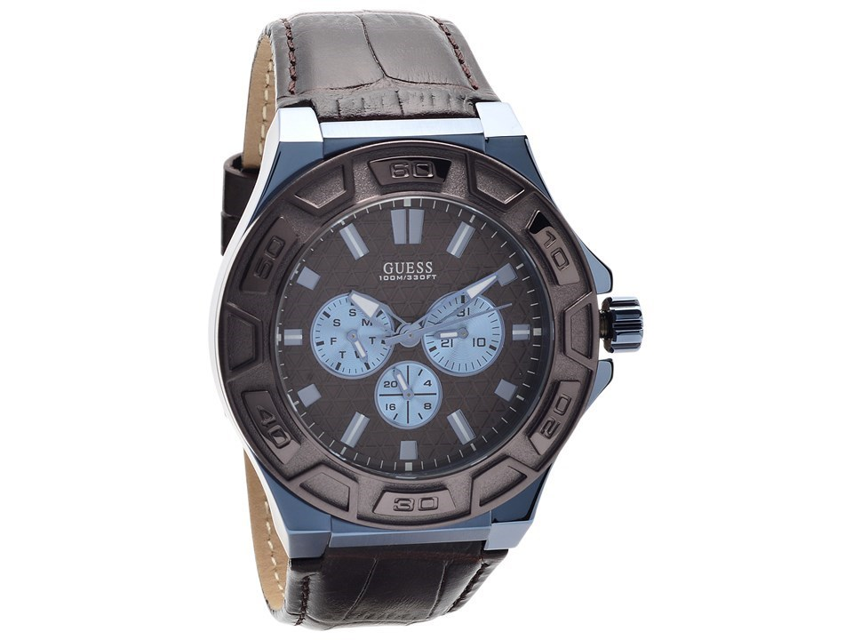 Guess W0674G5 Force Ion Plated Brown Leather Strap Watch ...