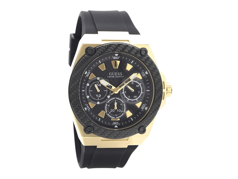 Guess W1049g5 Legacy Gold Plated Black Resin Strap Watch W98114