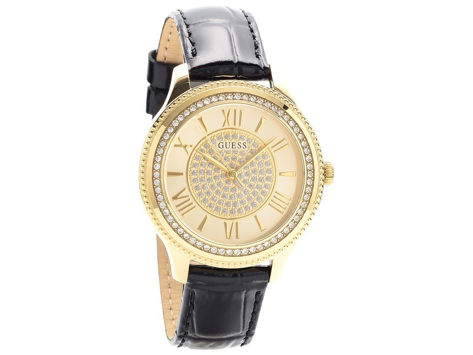 guess w0840l1 gold plated black leather