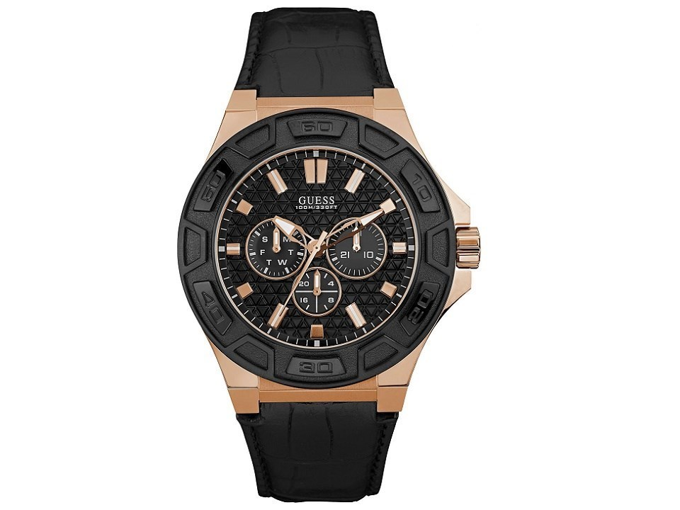 Guess W0674G6 Force Rose Gold Plated Black Leather Strap ... - photo #24